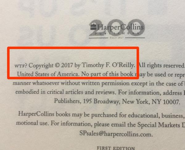 『WTF』洋書の発行年は表紙のうら2ページ目くらいに